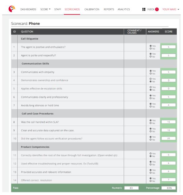 Customer Service Phone QA Scorecard
