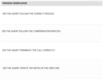 Customer service process compliance form