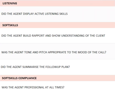 example of a soft skills call monitoring evaluation form